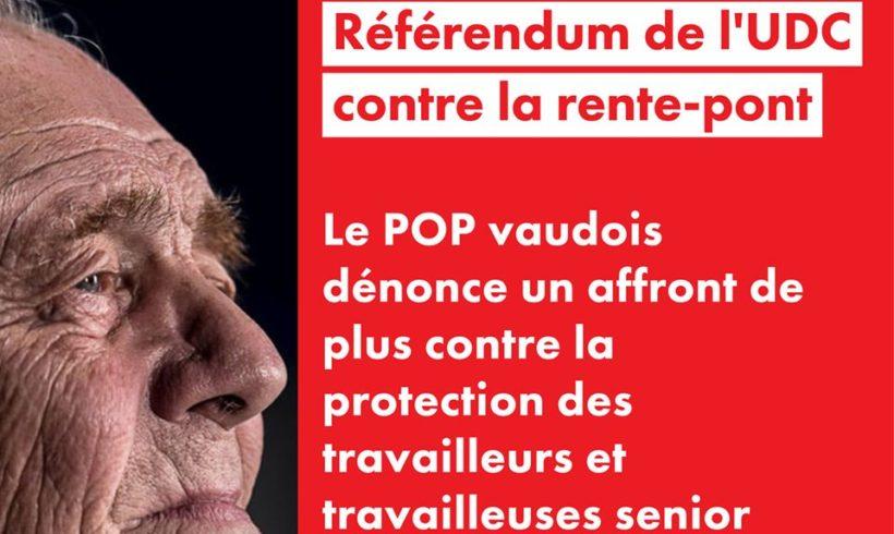 Référendum de l'UDC lancé contre la rente-pont : un affront de plus contre l'avancée des assurances sociales et la protection des travailleurs seniors